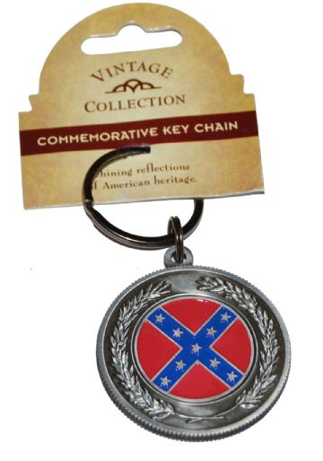 Confederate Flag Large Circular Pewter Keyring